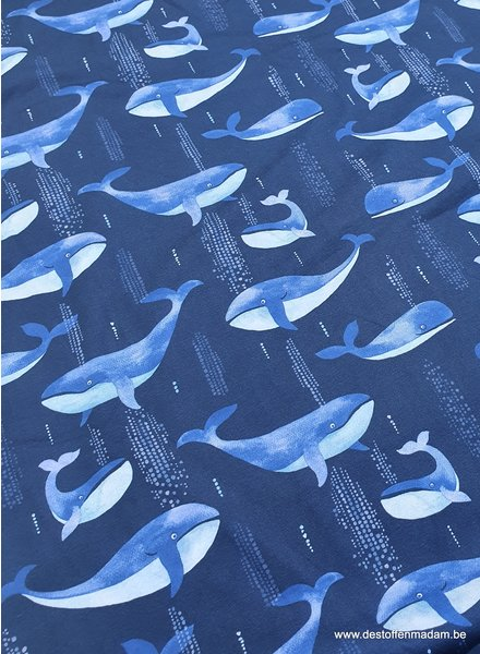 dancing whales - navy blue jersey