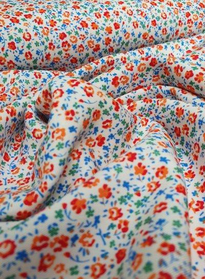 blue flowers - liberty style - viscose twill