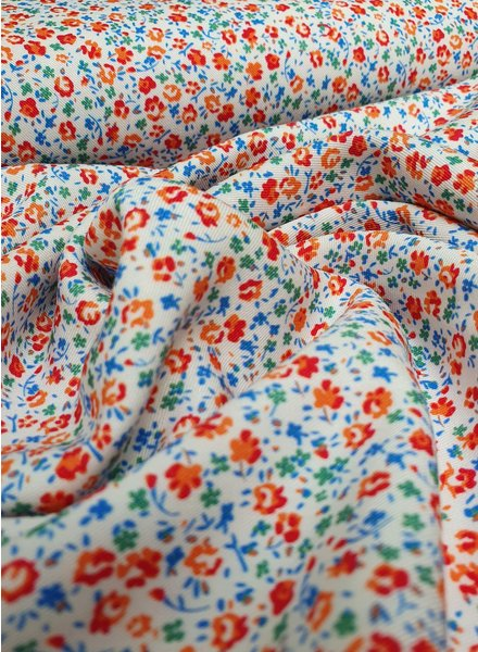 blue flowers - liberty style - viscose twill