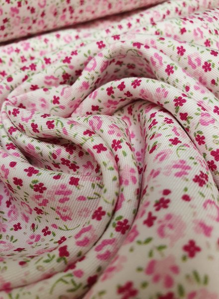 pink flowers - liberty style - viscose twill