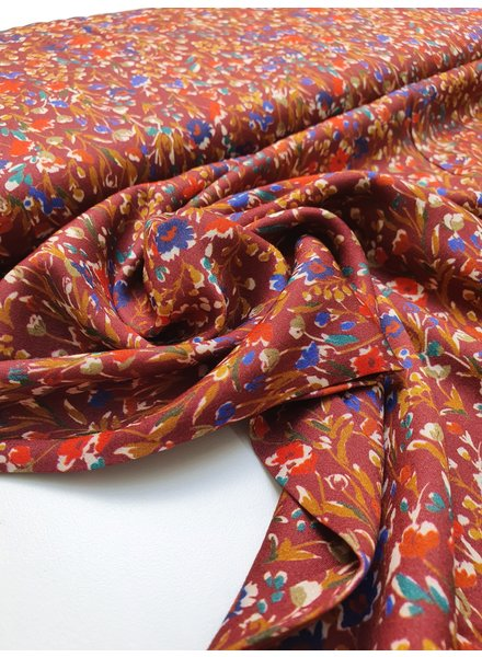 joyfull flowerfield - bordeaux viscose