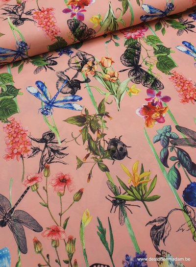 butterflies and flowers - pink crepe