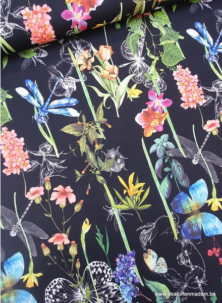 butterflies and flowers - black crepe