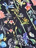 butterflies and flowers - black crepe