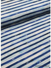fish and stripes - navy blue tricot
