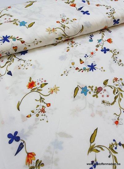 cream flowers - viscose