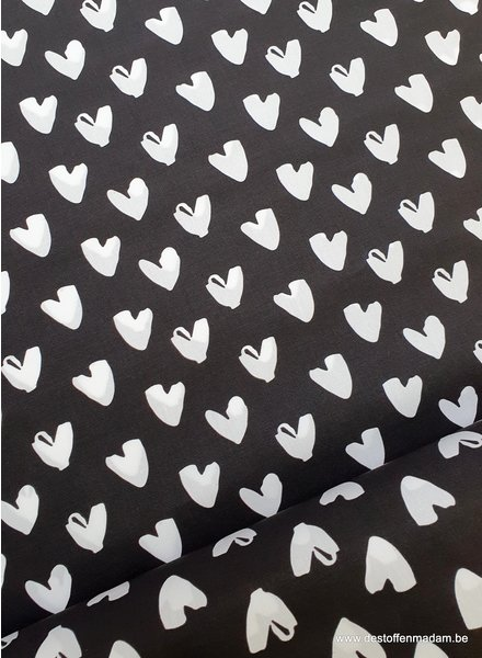 hearts black and white - cotton