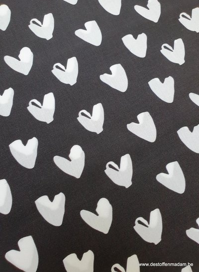 hartjes zwart wit - katoen