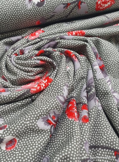 green dots and flowers - viscose tricot
