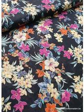black flowers - linen cotton mix