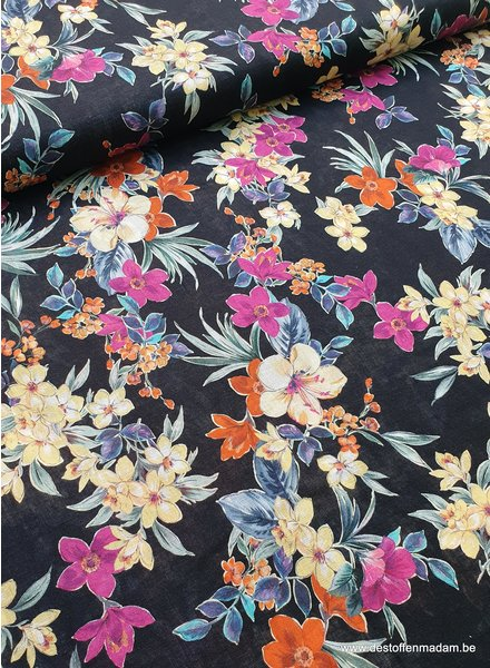 black flowers - linen cotton mix