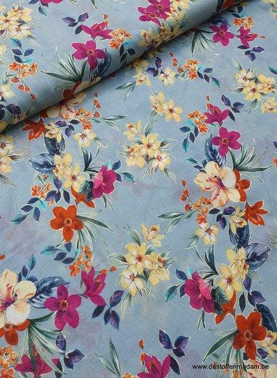 blue flowers - linen cotton mix