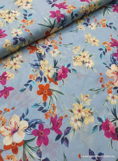 ijsblauw - bloemen - zachte linnen katoen mix