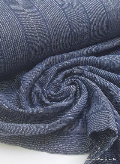 marineblauwe gestreepte Japanse double gauze