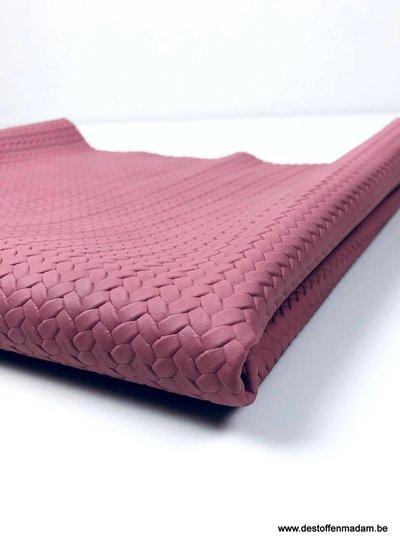 oud roze - gevlochten structuur - vegan leder