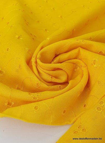 zonnig gele broderie voile katoen