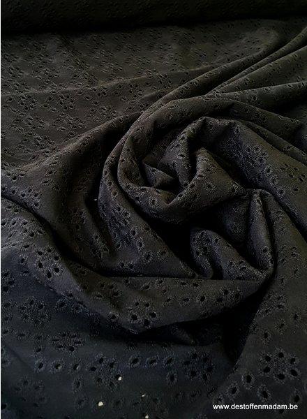 zwart tricot broderie