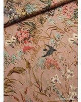 dusty pink birds and flowers - viscose