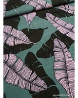 mint tropical leaves - viscose