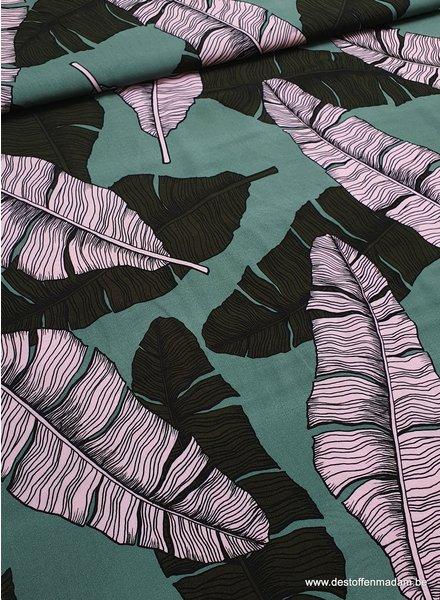 mint tropical leaves - viscose