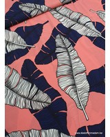 pink tropical leaves - viscose