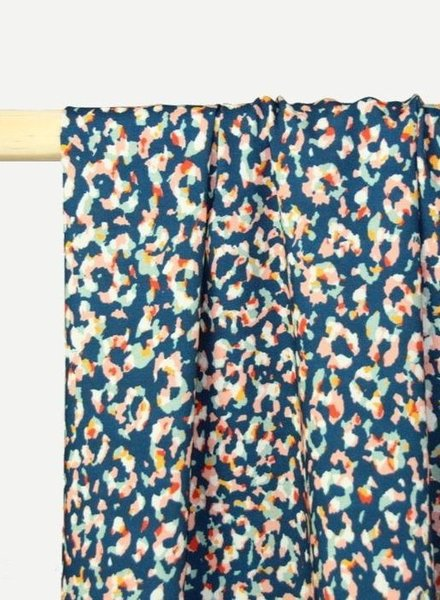 Atelier Jupe blue viscose with animal print
