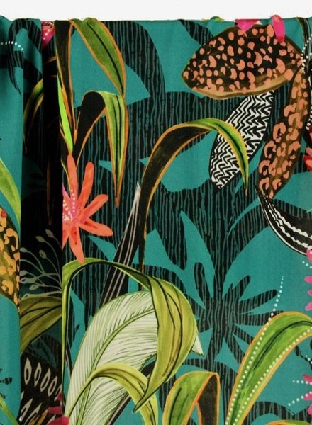 Atelier Jupe turquoise viscose with tropical print