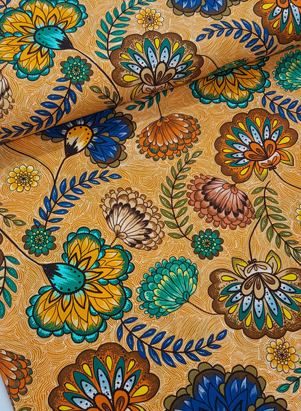 ocre big flowers - viscose