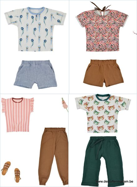 Nio/Nia short, shirt en broek - maat 80 tot 158
