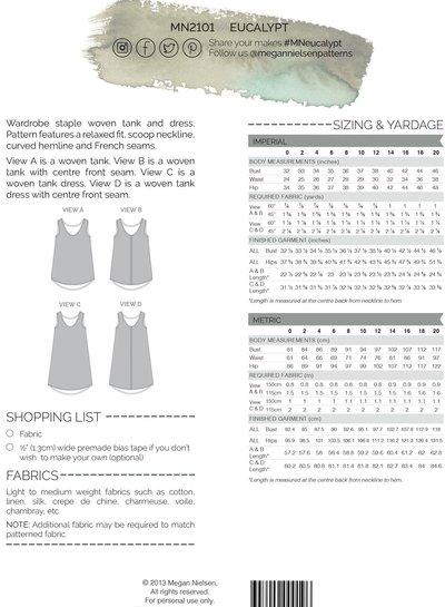 Megan Nielsen Eucalyptus dress and tanktop - englisch pattern