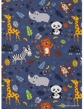 cute wild animals - denimblauw - tricot