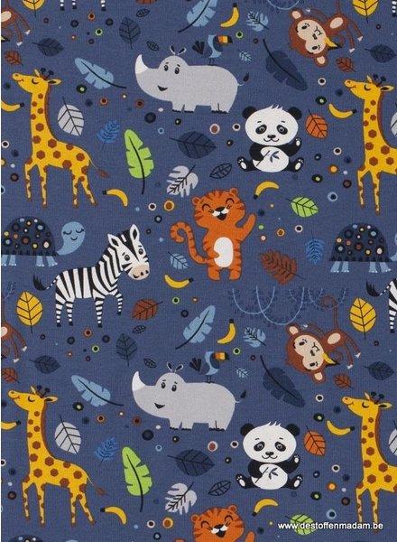 cute wild animals - denimblue - jersey