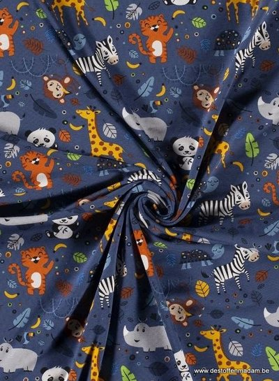 cute wild animals - denimblauw - tricot