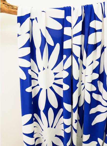 kobalt flowers - rekbare damesstof