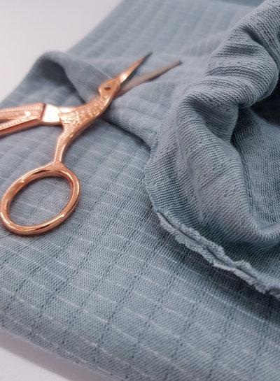 dusty blue  - double gauze stretch - baby cotton