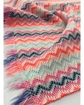knit chevron and stripes - double face - pink and cobaltblue
