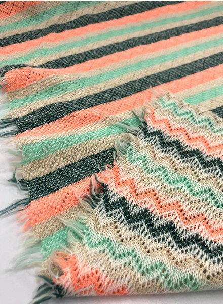 knit chevron and stripes - double face - green and coral