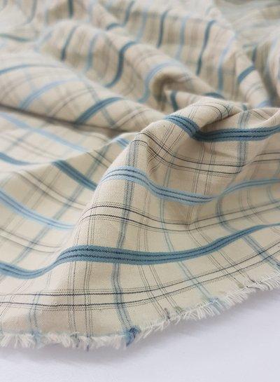 blauwe en beige ruitjes - zachte katoen