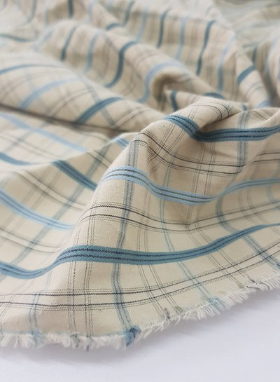 skyblue and beige checks - soft cotton
