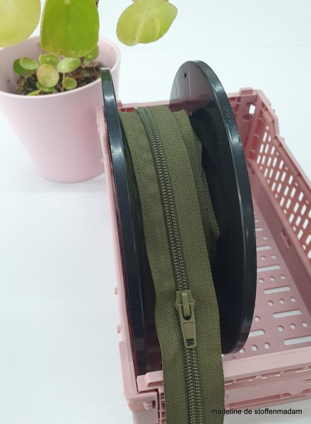 khaki endless zipper size 5  with sliders - 1 slider per 50 cm