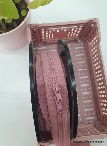 dusty pink endless zipper size 5  with sliders - 1 slider per 50 cm