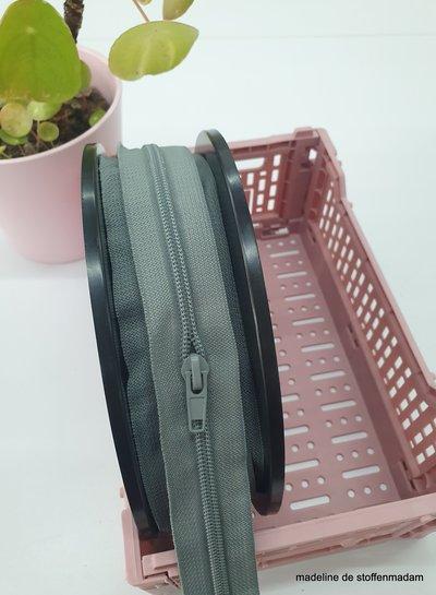 grey endless zipper size 5 with sliders - 1 slider per 50 cm
