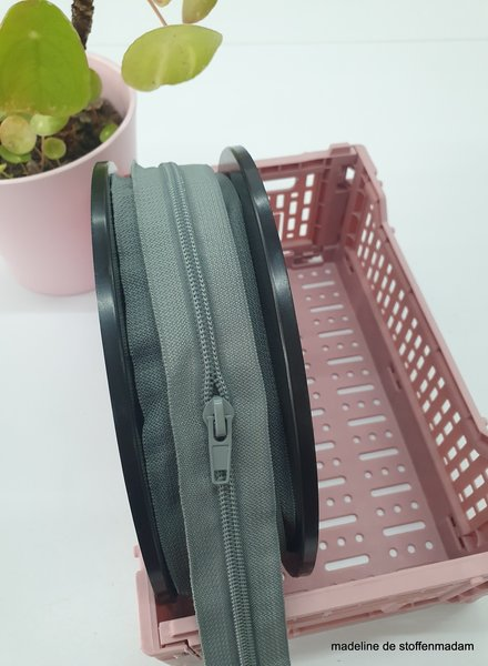 grey endless zipper size 5 with sliders - 1 slider per 50 cm
