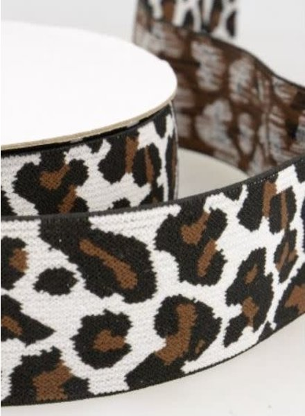 leopard creme elastic waistband 40 mm