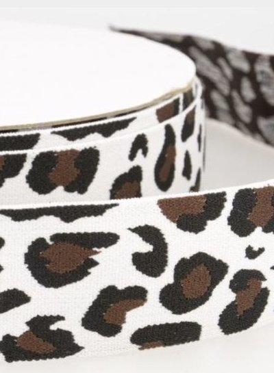 leopard white elastic waistband 40 mm