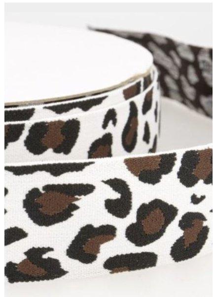 leopard wit taille elastiek 40 mm kleur 60