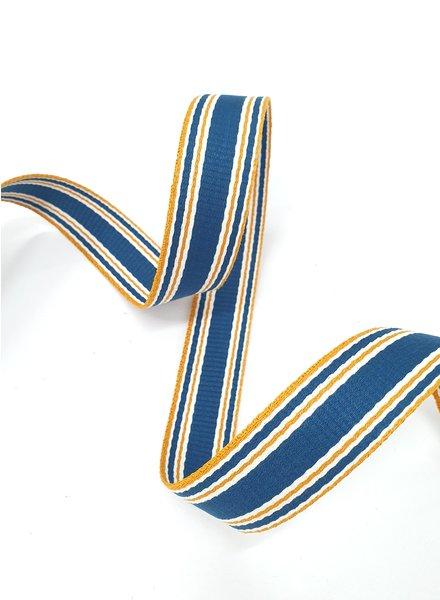 petrol met oranje streep  tassenband -  30 mm