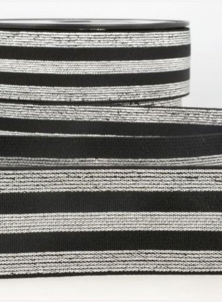 black and silver striped - deluxe - elastic 40 mm