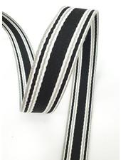 black striped bag strap - 30 mm