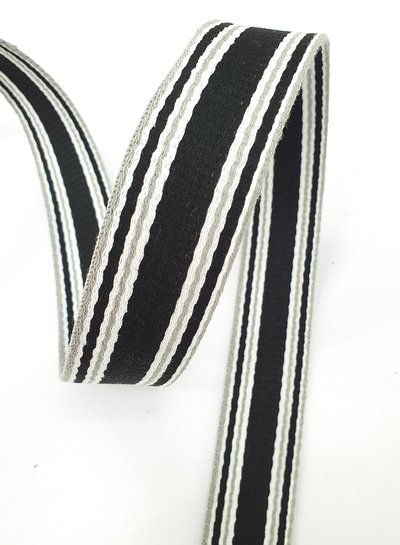 zwart met grijze streep tassenband - 30 mm